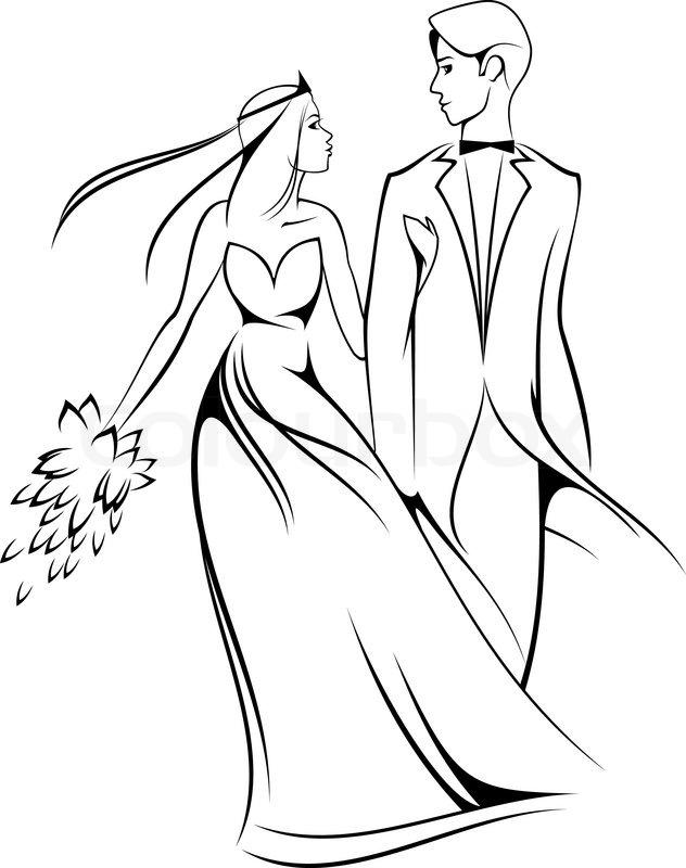 Braut und Bräutigam auf weiß für Trauung entwerfen ...