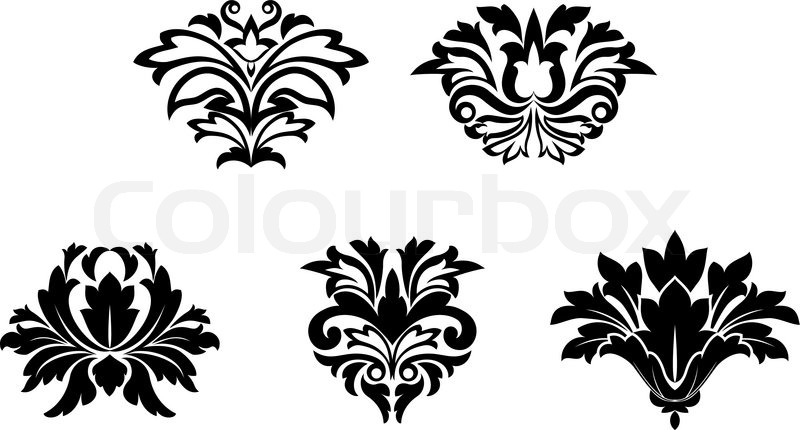 Flower Patterns Isolated On White For Stock Vector Colourbox