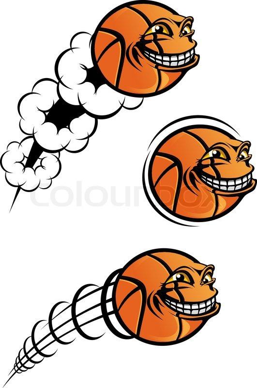 Flying Funny Basketball Ball Isolated Stock Vector Colourbox