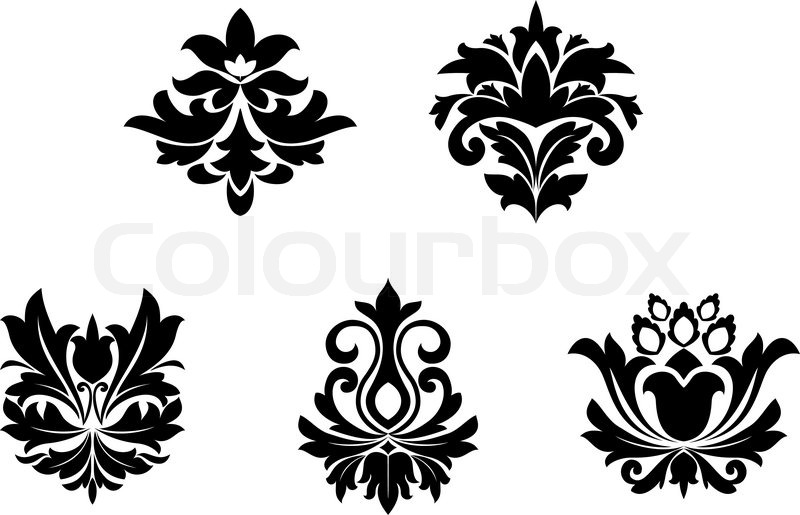 flower patterns for design and ornate isolated on white stock vector colourbox revival clip art in black and white revival clip art images