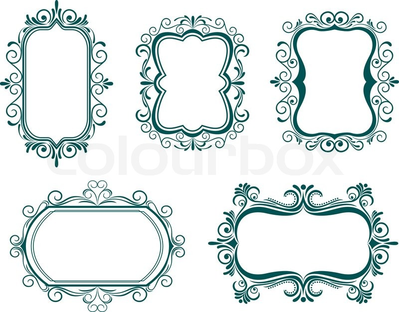 Antique vintage frames isolated on white for design | Stock Vector ...