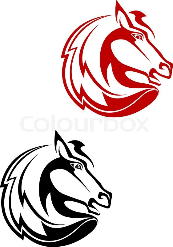 Horse Tattoo Symbol For Design Isolated On White Stock Vector
