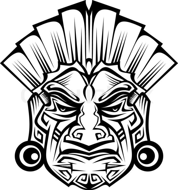 Ancient Ceremony Mask Isolated On Stock Vector