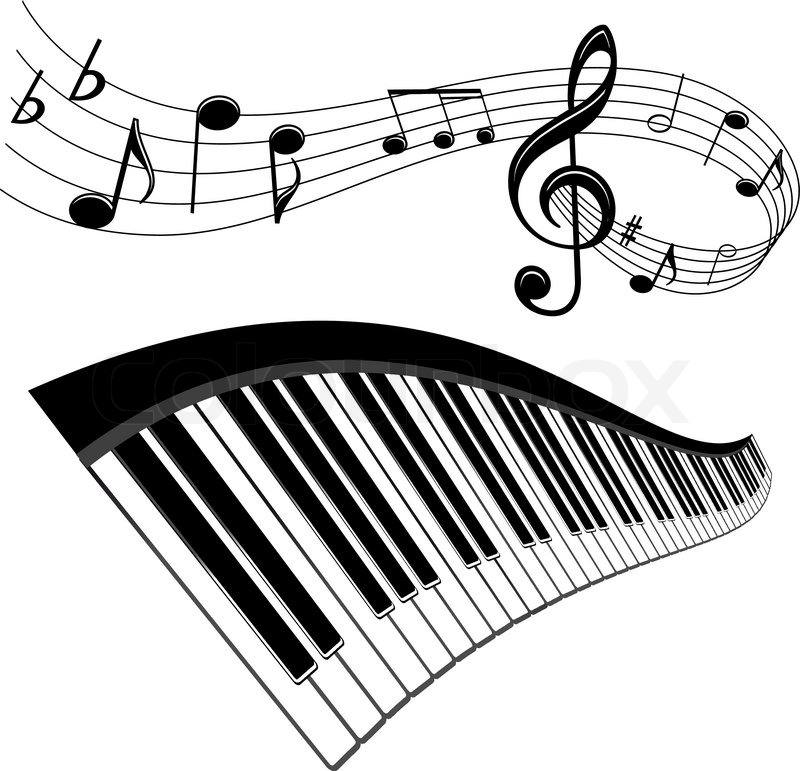 Piano and notes with music elements for musical design | Stock ...