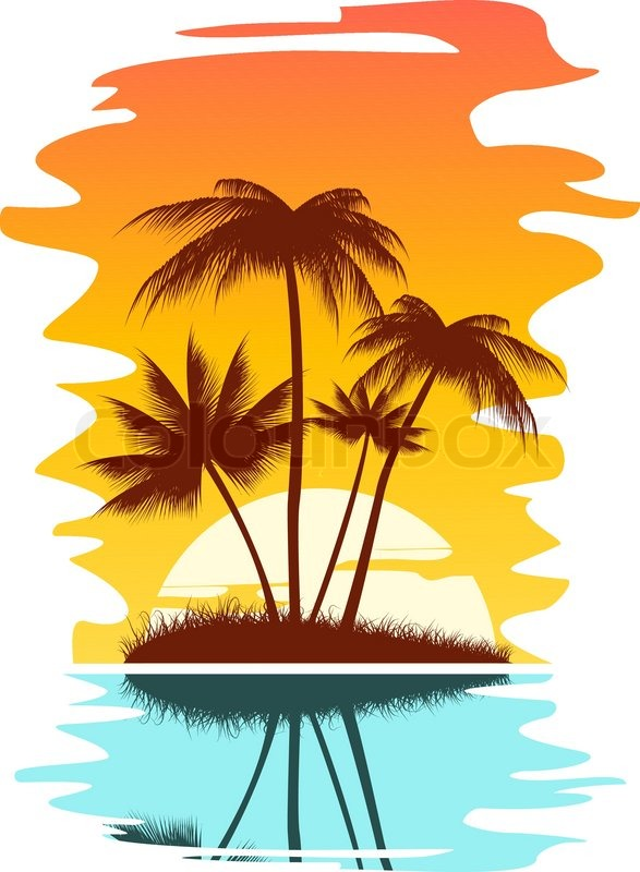 tropical abstract background with palms and sunset stock vector rh colourbox com Mountain Sunset Abstract Sunset