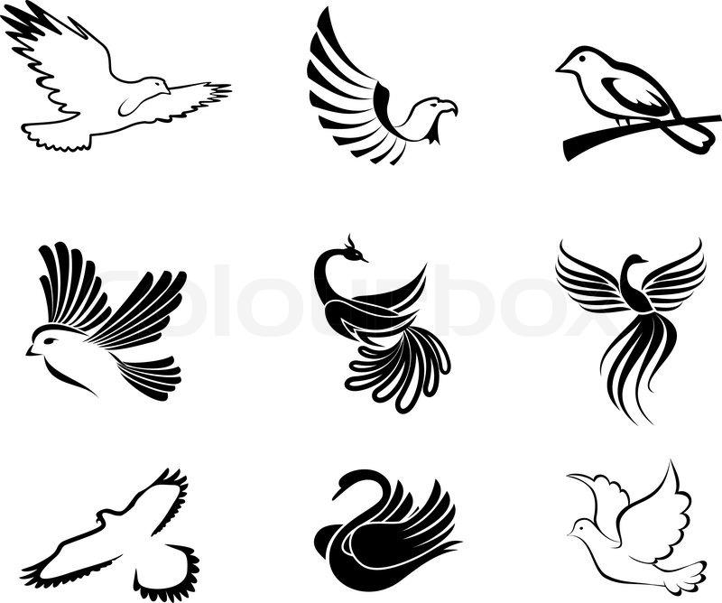 set vogel symbole als konzept des friedens vektorgrafik. Black Bedroom Furniture Sets. Home Design Ideas