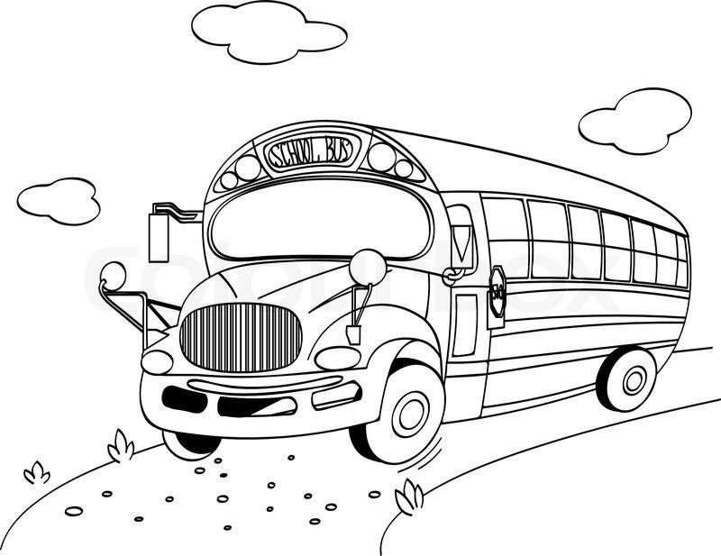 Malvorlage eines School Bus | Vektorgrafik | Colourbox