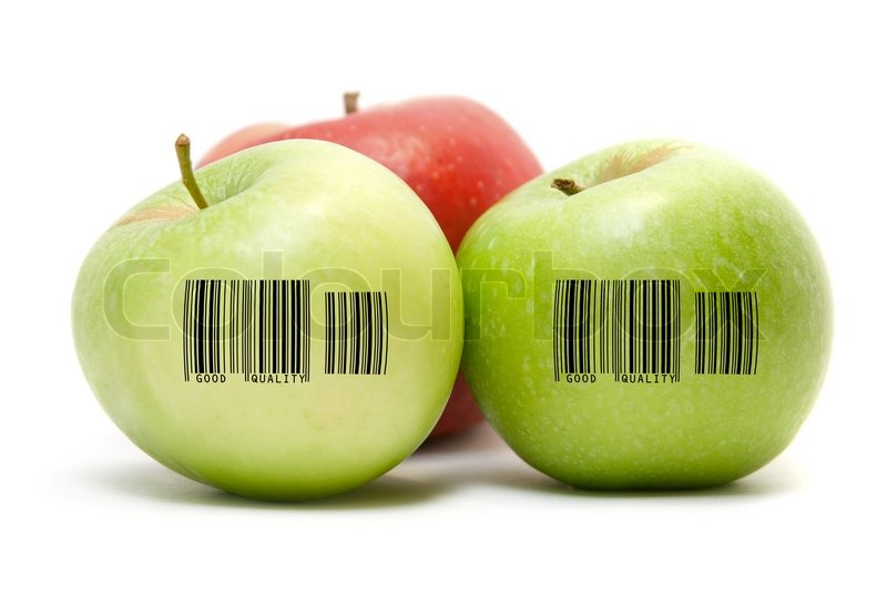 Ripe apples fruit with barcode isolated on white for Barcode food