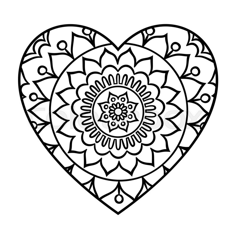 Doodle heart mandala coloring page. Outline floral design element in a ...