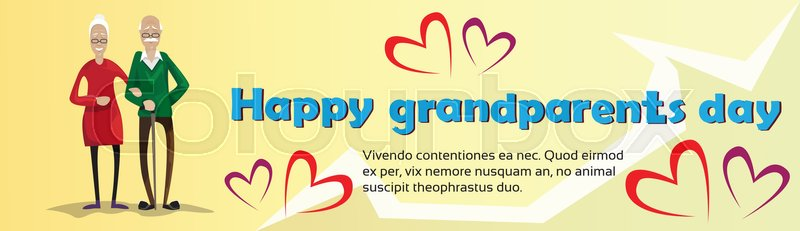 Grandfather with grandmother happy grandparents day greeting card grandfather with grandmother happy grandparents day greeting card banner flat vector illustration vector m4hsunfo