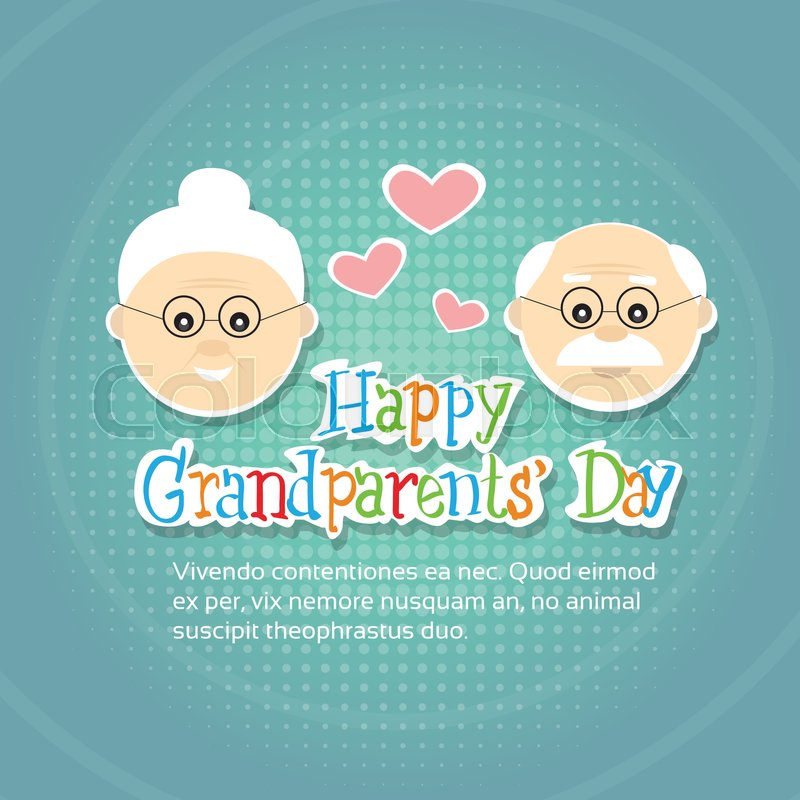 Grandfather with grandmother happy grandparents day greeting card grandfather with grandmother happy grandparents day greeting card banner flat vector illustration stock vector colourbox m4hsunfo