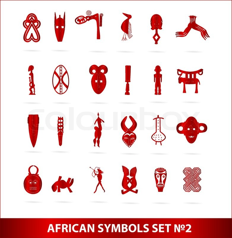 God African Symbols Set Vector Isolated Red Color Stock Vector