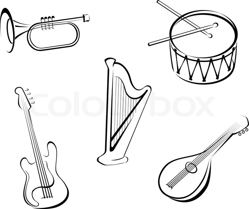 It's just a graphic of Clean Musical Instruments Drawing