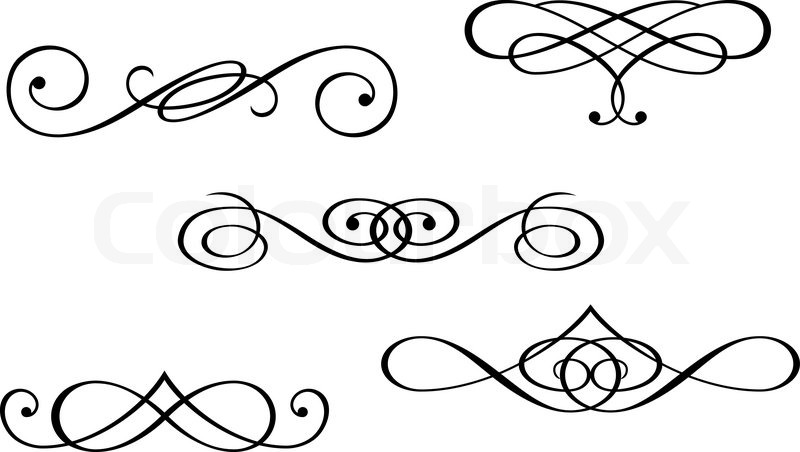 Design elements and monograms isolated on white | Stock ...
