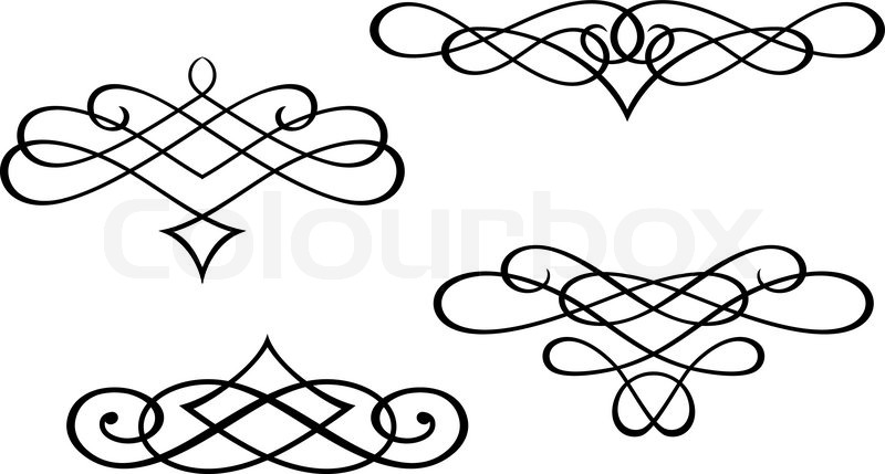 swirl elements and monograms for stock vector colourbox