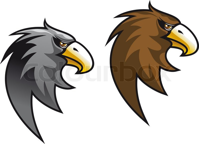 Cartoon Eagle Symbol Isolated On White For Tattoo Or Another Design