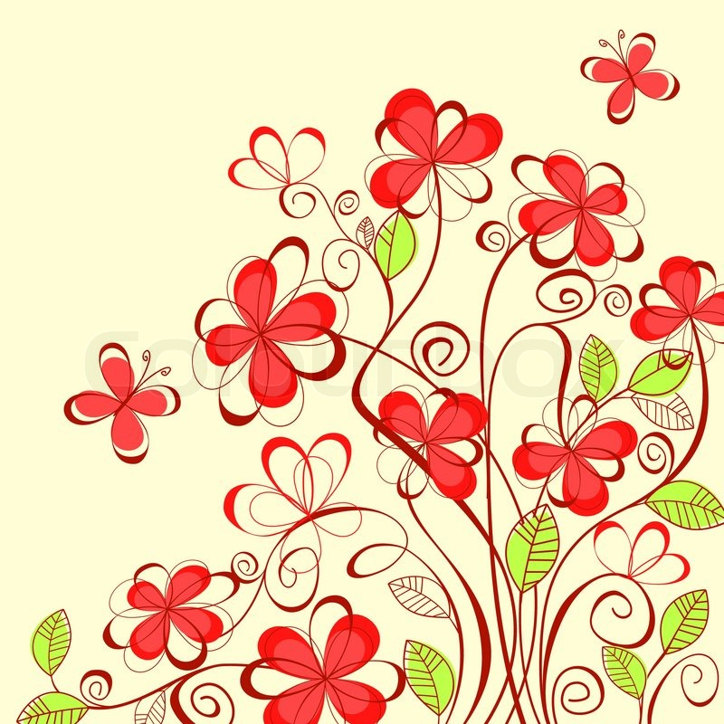 Abstract Flower Background With Decoration Elements For