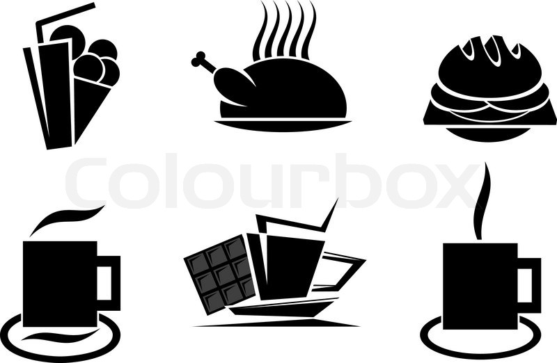 Fast Food Symbols For Design Isolated On White Stock Vector
