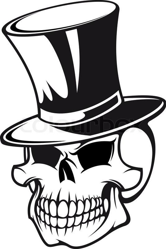 skull in black hat for tattoo design stock vector colourbox. Black Bedroom Furniture Sets. Home Design Ideas