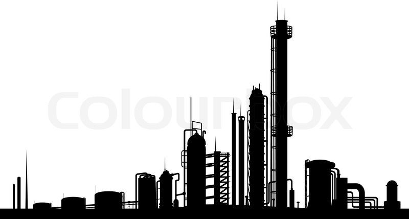 Industrial Factory Isolated On White Stock Vector