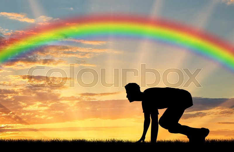 Runner, start, rainbow, sport. Start runner on rainbow background, stock photo