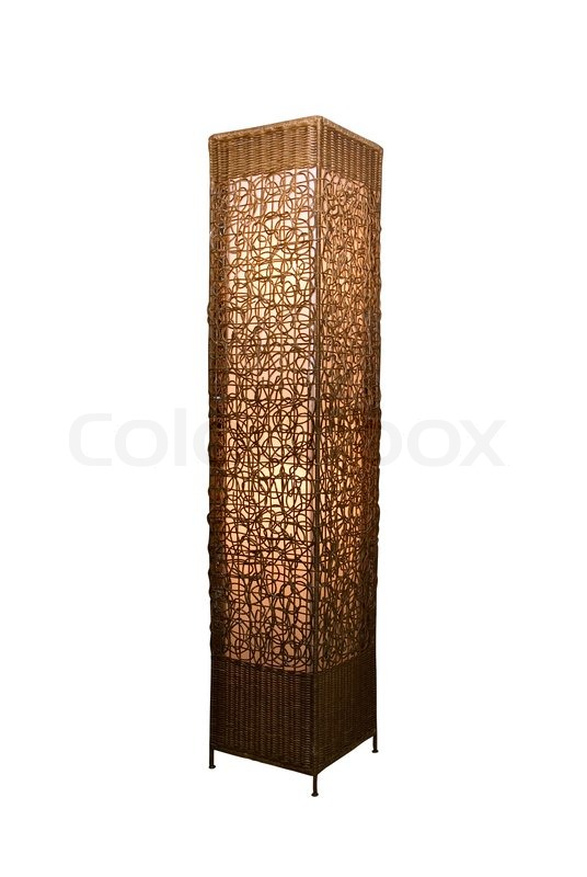 Rattan Stand Lamp Isolate On White, Stock Photo