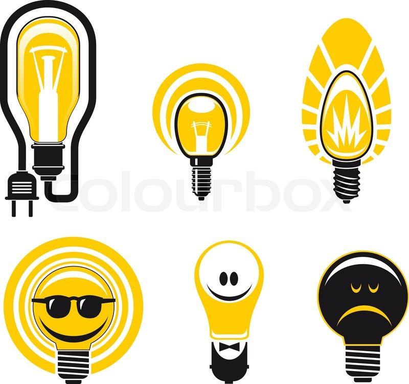 Set Of Light Bulb Symbols For Creative Design Isolated On White