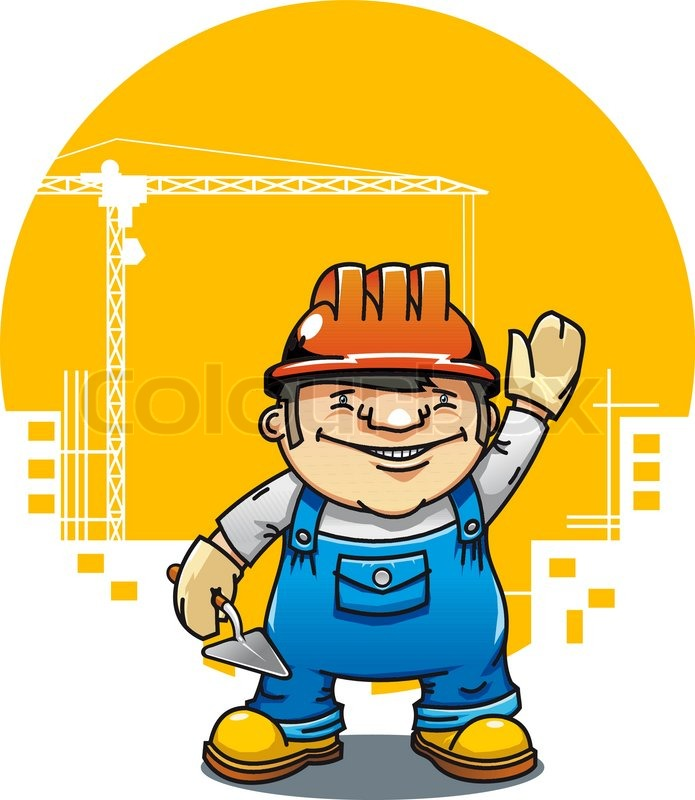 Building Construction Cartoon : Smiling cartoon builder with tools on building