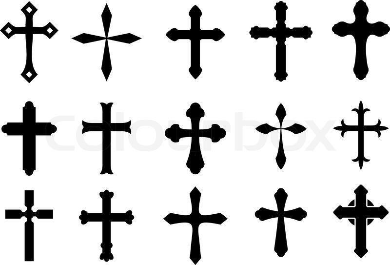 set von religi sen symbolen kreuz auf wei em isoliert vektorgrafik colourbox. Black Bedroom Furniture Sets. Home Design Ideas