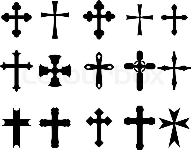 Set Of Religious Cross Symbols Isolated On White Stock Vector
