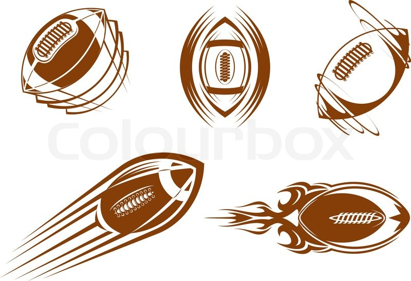 Rugby And American Football Symbols For Mascots Or Sports