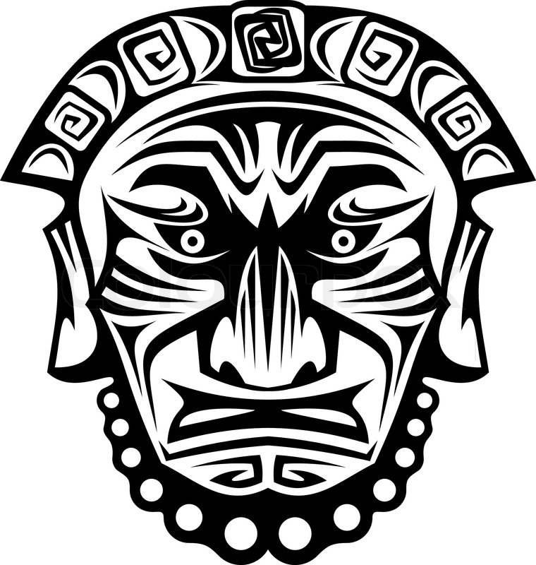 Ancient tribal religious mask isolated on white   Stock Vector ...