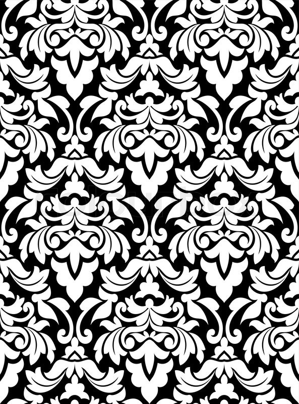 Damask seamless pattern for background design in white and black color stock vector colourbox - Black n white designs ...
