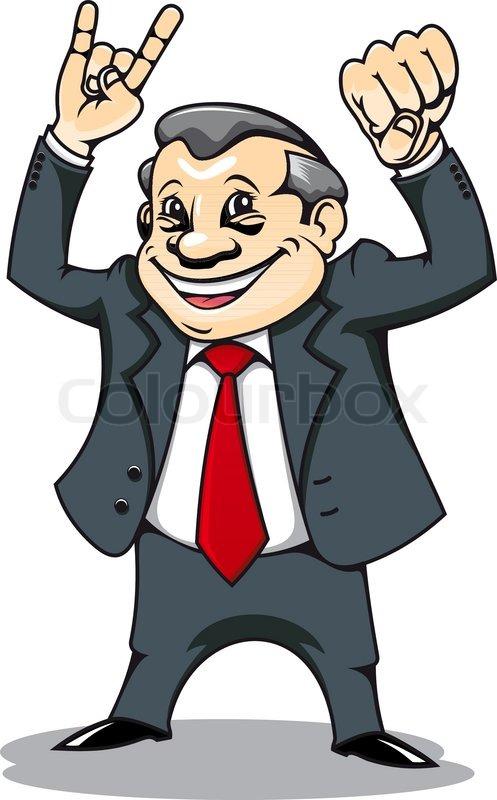 Lächelnder Geschäftsmann mit Muskeln im Comic-Stil ...