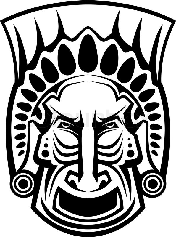 ancient tribal religious mask isolated on white stock