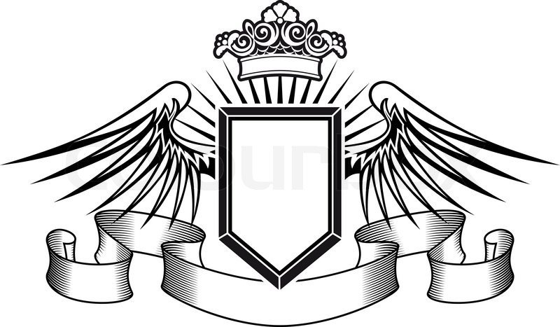 Heraldry Shield With Angel Wings Ribbons And Crown