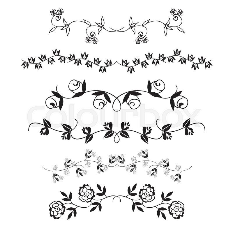 Flower Frame Line Drawing : Flower dividing line hand drawn border