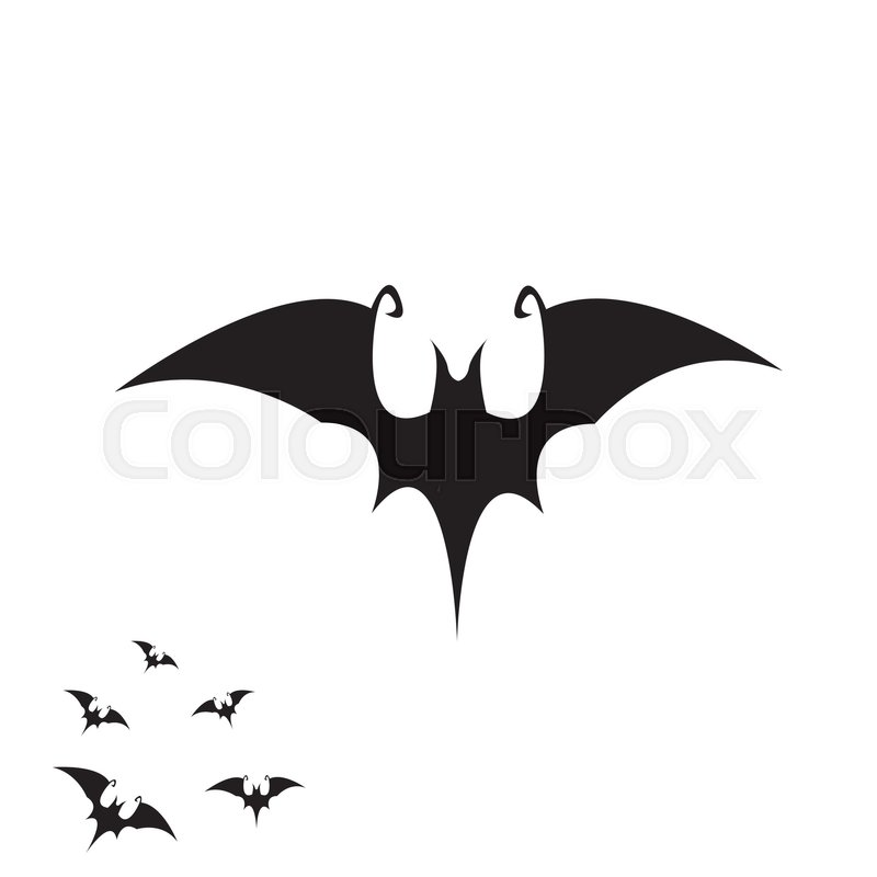 vector halloween bat icon vector bat silhouette isolated on white stock vector colourbox