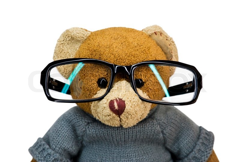 Teddy bear in glasses on a white ... | Stock Photo | Colourbox