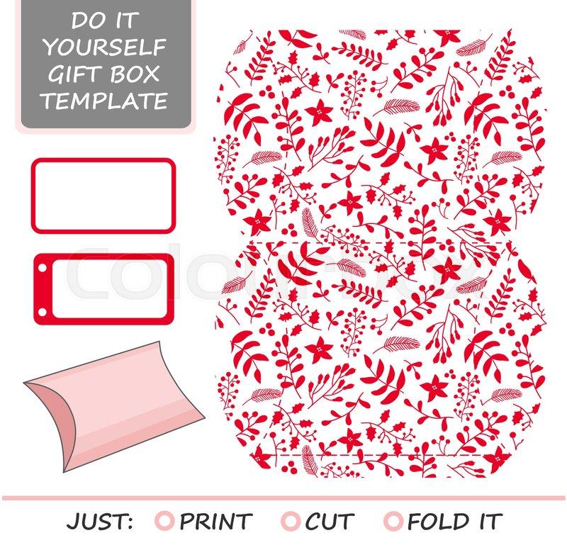 Christmas Vector Gift Packaging Template Favor Gift Box Die Cut