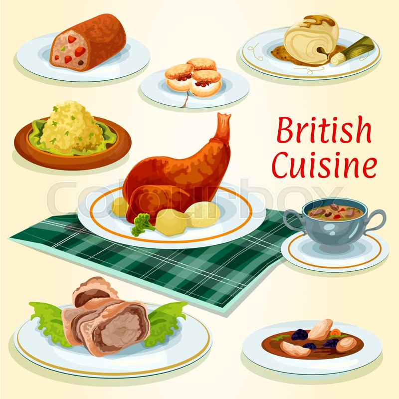 british cuisine popular dishes icon with beef wellington in pastry wrap scottish chicken soup. Black Bedroom Furniture Sets. Home Design Ideas