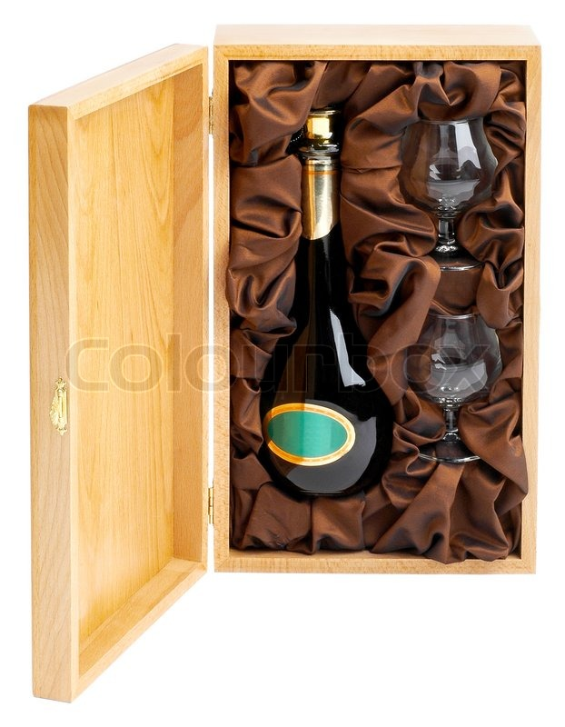 Open Wooden Box With Bottle Of Wine And Stock Image Colourbox