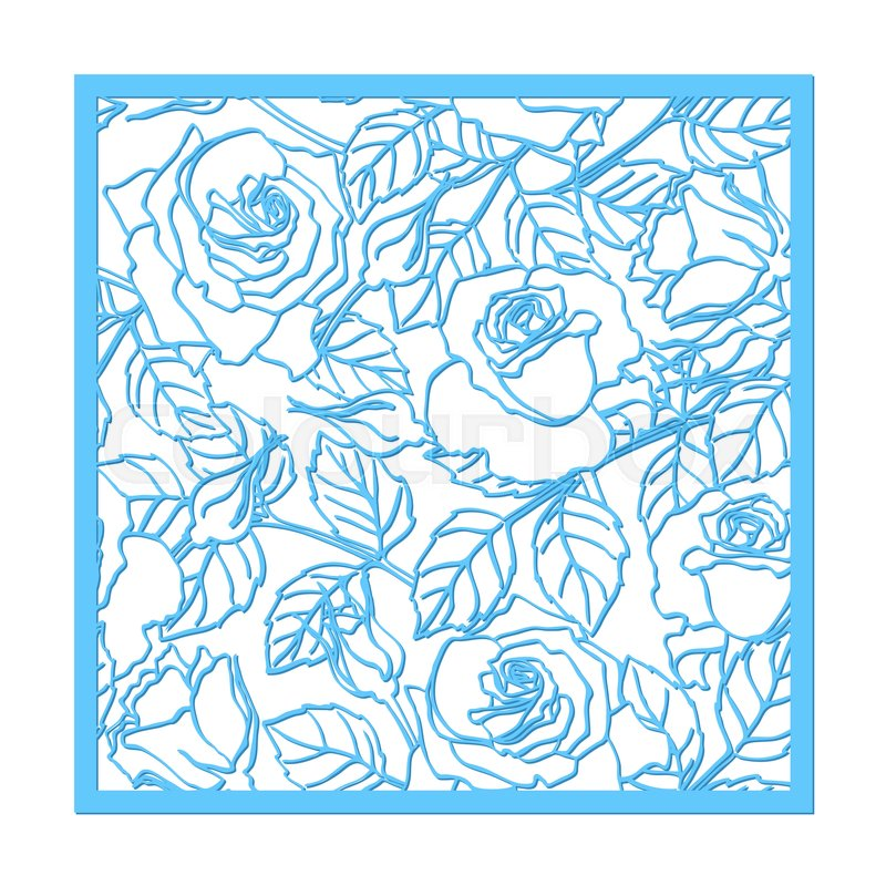 Laser cut vector rose ornament cutout pattern silhouette with die cut paper element for wedding invitations save the date greeting card square botanical cutting template panel vector stopboris Images