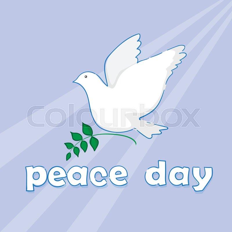 World Peace Day Poster White Dove Bird Symbol Flat Vector