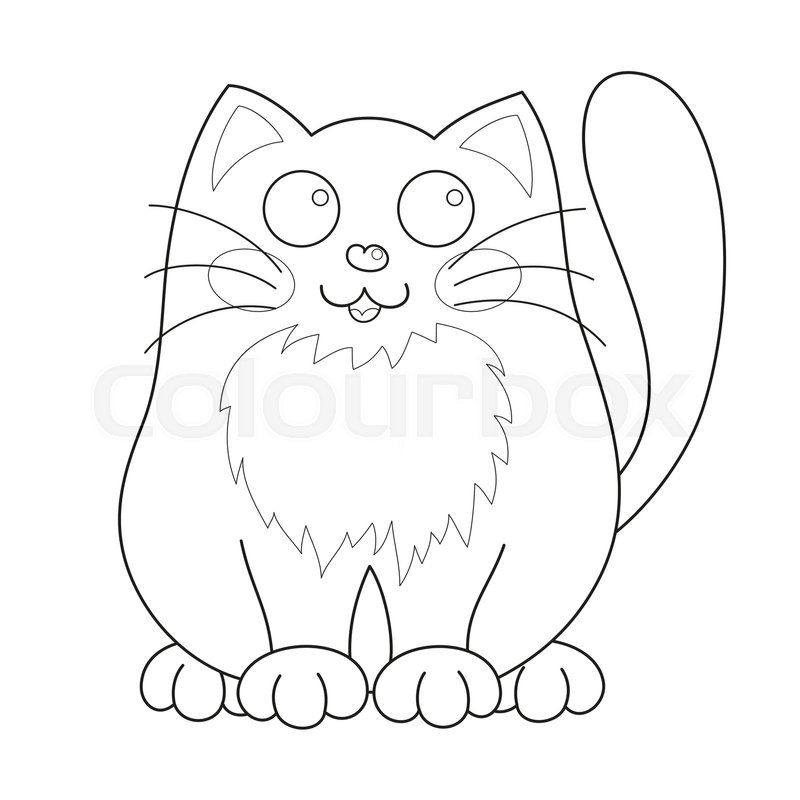 Cartoon smiling gentle kitty sit, vector illustration of cute loving ...