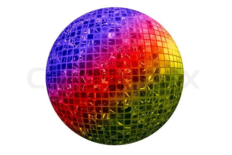 Color disco ball isolated on white background stock for Disco ball coloring page