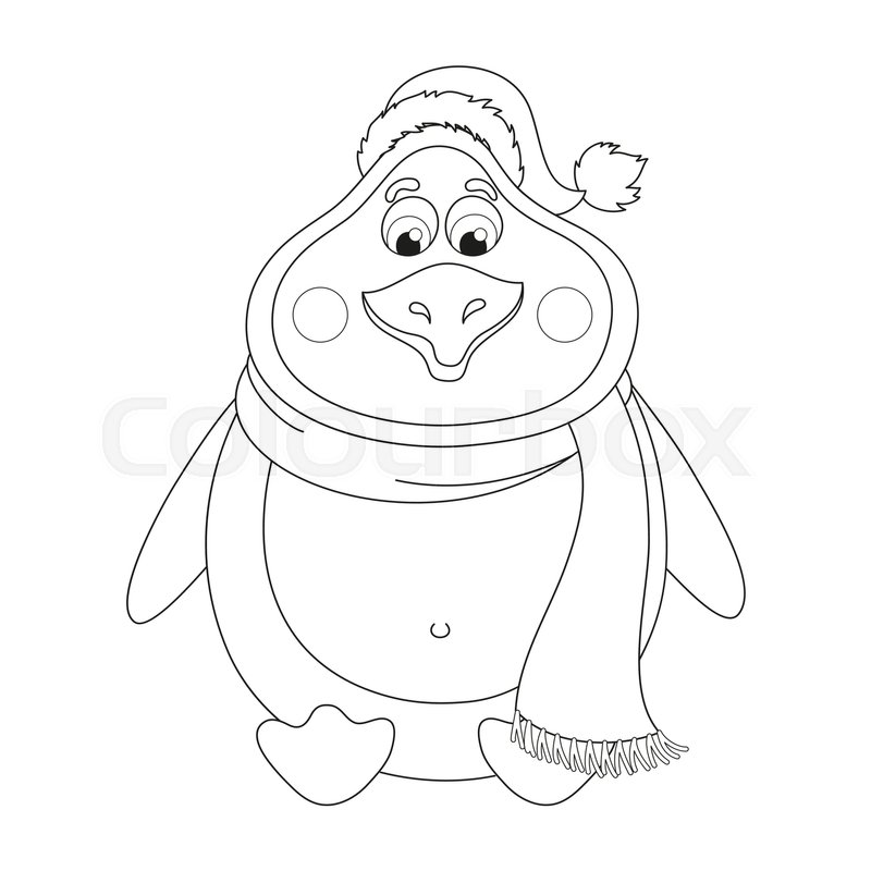 New Year\'s cheerful cute penguin in winter hat and scarf sits, fat ...