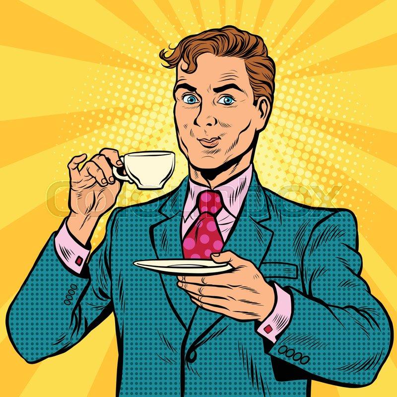 Retro Businessman Drinking Tea Pop Stock Vector