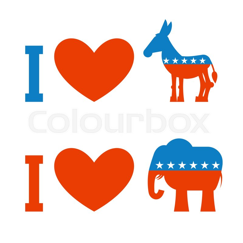 I Love Democrat I Like Republican Symbol Of Heart Donkey And
