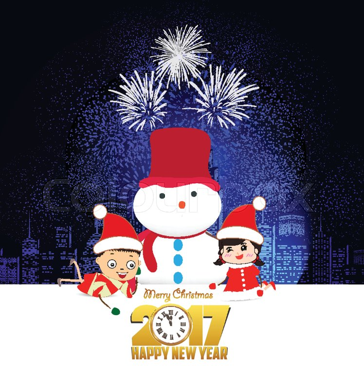 Merry christmas and happy new year 2017 with clock and funny kids ...